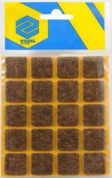 Vorel Podkładki filcowe kwadratowe brązowe 20x20mm 20szt. (74861)