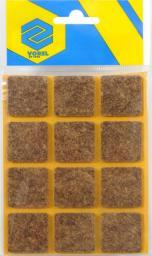 Vorel Podkładki filcowe kwadratowe brązowe 28x28mm 12szt. (74863)