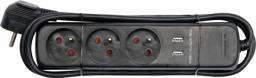 Vorel Przedłużacz elektryczny z uziemieniem 3 gniazda + 2 USB 1,5m 72750