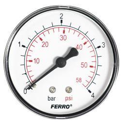 """Ferro Manometr 63mm przyłącze 1/4"""" tylne M6304A"""