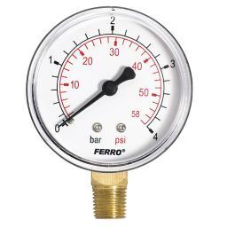 """Ferro Manometr 63mm przyłącze 1/4"""" boczne M6304R"""