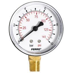 """Ferro Manometr 63mm przyłącze 1/4"""" boczne M6310R"""