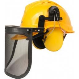 FLO Zestaw ochronny dla pilarza: hełm typ B204, nauszniki, siatkowa osłona twarzy (74201)