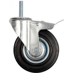 Vorel Kółko skrętne z czarną gumą, hamulcem i trzpieniem gwintowanym 125mm (87333)
