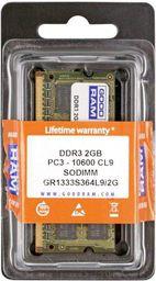 Pamięć do laptopa GoodRam DDR3 SODIMM 2GB 1333MHz CL9 (GR1333S364L9/2G)