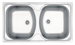 Deante ZLewozmywak 2-komorowy Techno bez ociekacza 79x44cm stal dekor + osprzęt (ZMU 3200)