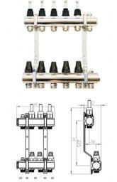 SiGMA-Li Rozdzielacz mosiężny z zaworem termostatycznym i przepływomierzem 409x346x87mm (RMZTP-7)