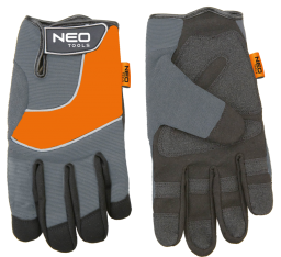 """NEO Rękawice robocze skóra syntetyczna wstawki PCV r.10"""" (97-605)"""