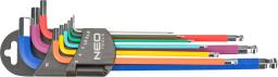 NEO Zestaw kluczy imbusowych hex typ L 1,5-10mm z kulką 9szt. (09-512)