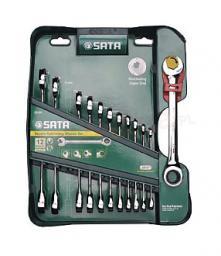 SATA Zestaw kluczy płasko-oczkowych z grzechotką 8-19mm 12szt. (09066)