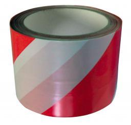 MEGA Taśma ostrzegawcza biało-czerwona 75mm 100m - 13163