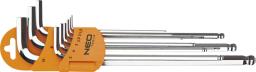 NEO Zestaw kluczy imbusowych hex typ L 1,5-10mm z kulką 9szt. (09-525)