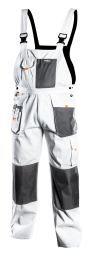 NEO Spodnie robocze na szelkach białe rozmiar XL - 81-140-XL