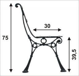 Noga do ławki ogrodowa wysoka C 5 desek