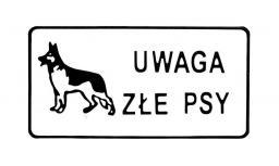 Tablica 15x29cm Uwaga Złe Psy - D P3