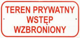 Tablica mała 10x20cm Teren Prywatny Wstęp Wzbroniony - T003