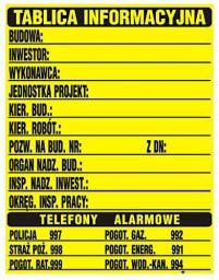 Tablica informacyjna budowlana 70x90cm
