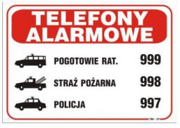 Tablica Telefony Alarmowe TBI-27