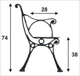 Noga duża do ławki z oparciem bocznym 5 desek