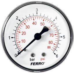 "Ferro Manometr 63mm 1/4"" 0-6bar axialny tylny - M6306A"