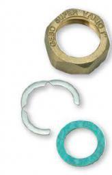 """Gebo Mosiężna nakrętka GW 1"""" z płaską uszczelką KLINGERIT i pierścieniem stalowym 10szt. SV20SET03"""
