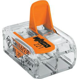 WAGO Złączka uniwersalna 2x4mm przeźroczysto pomarańczowa do wszystkich rodzajów przewodów (221-412)