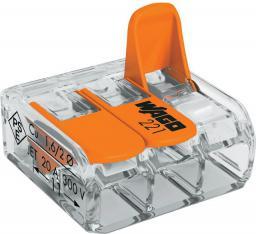WAGO Złączka uniwersalna 3x4mm2 przezroczysto pomarańczowa z dźwigniami (221-413)