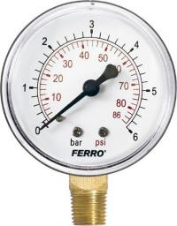 """Ferro Manometr 63mm 1/4"""" 0-6bar radialny boczny  - M6306R"""