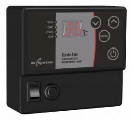DK System Elektroniczny miarkownik ciągu kotła na paliwa stałe UNISTER sterujący klapą dolotu powietrza i pompą c.o. 201303