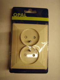 Opal Gniazdo 2-krotne z uziemieniem i przesłoną opal/perła beżowe