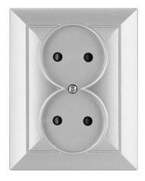 Opal Gniazdo 2-krotne bez uziemienia z przesłona opal/perła srebrne