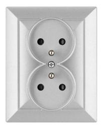 Opal Gniazdo 2-krotne z uziemieniem i przesłoną opal/perła srebrne