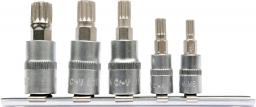 """Yato Zestaw nasadek trzpieniowych Spline 1/4"""" 3/8"""" M5-M12 5szt. (YT-04360)"""