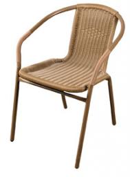Greenmill Krzesło z oparciem plecionym brązowe (JLC308)