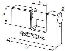 Gerda Kłódka żeliwna trzpieniowa 60mm (GROKZT0006000.0613OP)