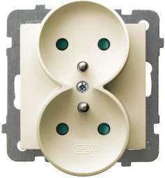 Ospel Gniazdo AS podwójne z uziemieniem i przesłonami torów prądowych ecru (GP-2GRZP/m/27)