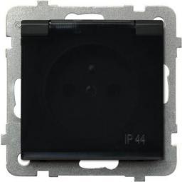 Ospel Gniazdo Sonata bryzgoszczelne z uziemieniem klapka dymna czarny metalik (GPH-1RZ/m/33/d)