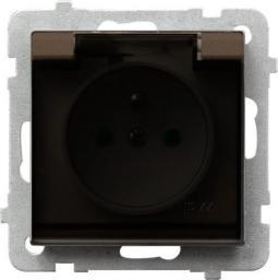 Ospel Gniazdo Sonata bryzgoszczelne z uziemieniem przesłonami klapka dymna czekoladowy metalik (GPH-1RZP/m/40/)