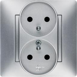 ELEKTRO-PLAST Gniazdo podwójne Volante z/u 16A 230V modułowe srebrne (2643-06)