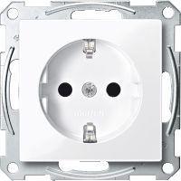 Schneider Electric Gniazdo pojedyncze Merten System M Schuko 16A IP20 z przesłonami białe (MTN2400-0325)