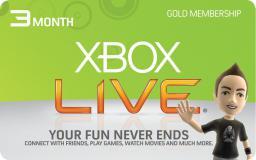Microsoft Xbox 360 : 3 miesięczny abonament Xbox Live Gold