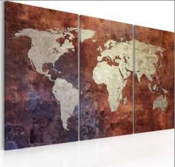 Artgeist Obraz - Rdzawa mapa swiata - tryptyk 60x40