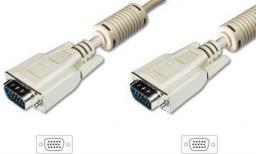 Kabel Digitus D-Sub (VGA) - D-Sub (VGA), 1.8, Beżowy (AK-310103-018-E)