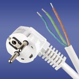 Elektro-Plast Przewód przyłączeniowy z wtyczką kątową biały 3 x 1mm 1,5m (51.921)