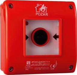 Spamel Przycisk ppoż. natynkowy 1Z 1R czerwony z młotkiem (OP1-W01-B-11-M0)