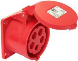 PCE Gniazdo tablicowe 16A 5P 400V 70 x 70 czerwone IP44 (315-6)