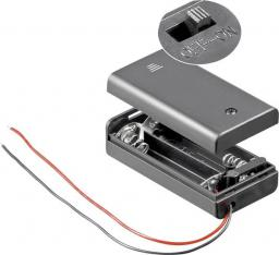 Goobay Koszyk na baterie 2x AA z przewodem i wyłącznikiem