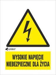 ANRO Tabliczka ostrzegawcza Wysokie napięcie niebezpieczne dla życia 52 x 74mm (3EOA/Q1/F)