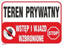 ANRO Tabliczka Teren prywatny Wstęp i wjazd wzbronione 350 x 250mm (B25/L/P)
