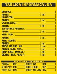 ANRO Tablica informacyjna budowlana 700 x 900mm (B1/R/P)